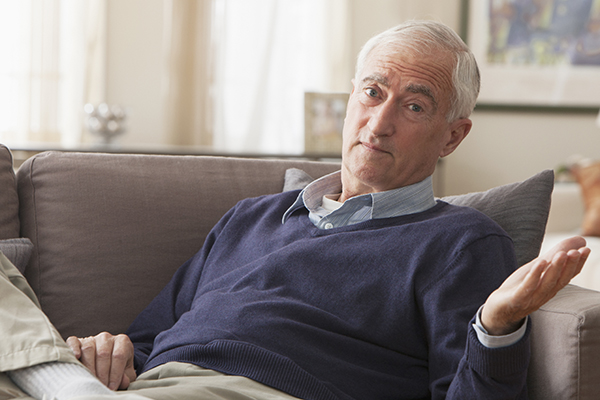 confused senior man - Anosognosia may occur in seniors with dementia